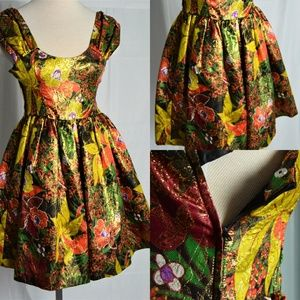 Vintage Unmarked Gold Threaded Floral Mini Dress